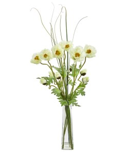 Nearly Natural 1566-CR Poppy and Grass Artificial Arrangement