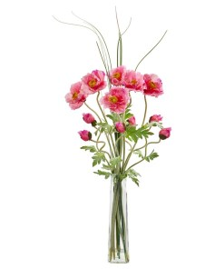 Nearly Natural 1566-PK Poppy and Grass Artificial Arrangement