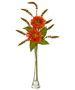 Nearly Natural 1744-OR Sunflower & Berry Artificial Arrangement