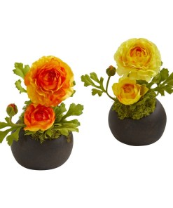 Nearly Natural 1778-S2-OY Ranunculus Artificial Arrangement (Set of 2)