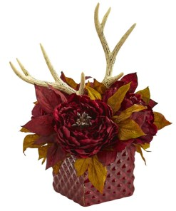 Nearly Natural 1779-RD Peony and Antlers Artificial Arrangement in Red Vase