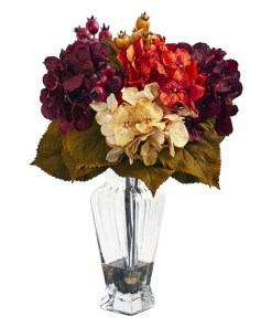 Nearly Natural 1788 Autumn Hydrangea Berry Artificial Arrangement in Glass Vase