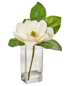 Nearly Natural 1794 Large Magnolia Artificial Arrangement in Glass Vase