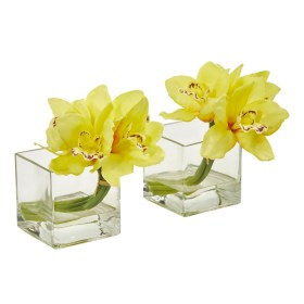 Nearly Natural 1824-S2-YL Cymbidium Orchid Artificial Arrangement in Glass Vase (Set of 2)