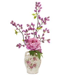 """Nearly Natural 1855-PK 25"""" Peony and Thistle Artificial Arrangement in Flower Print Jar"""