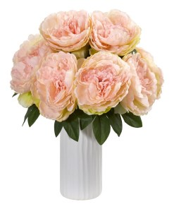 Nearly Natural 1862-PK Peony Artificial Arrangement in White Vase