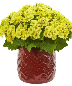 Nearly Natural 1875-YL Daisy Artificial Arrangement in Red Planter