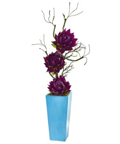 """Nearly Natural 1886-PP 53"""" Musella Artificial Arrangement in Blue Planter"""