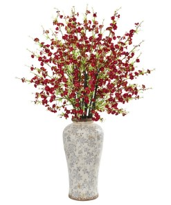 """Nearly Natural 1888-RD 37"""" Cherry Blossom Artificial Arrangement in Decorative Vase"""