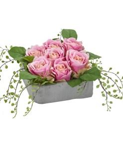 Nearly Natural 4288 Rose Artificial Arrangement in Square Ceramic Vase