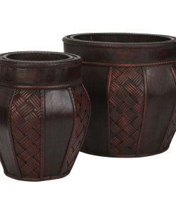 Nearly Natural 0516 Wood and Weave Panel Decorative Planters