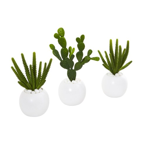 """Nearly Natural 8637-S3 10"""" Cactus Succulent Artificial Plant in White Vase"""