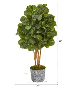 "Nearly Natural 9838 50"" Fiddle Leaf Fig Artificial Tree in Tin Planter with Black Pattern"