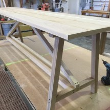 oak sofa table in progress