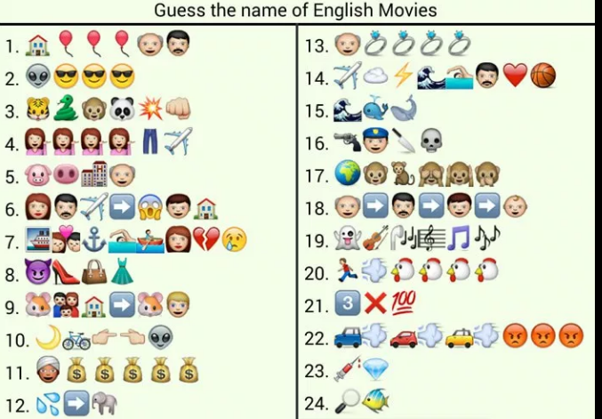 whatsapp puzzles: guess english movie names