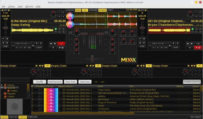 Hauptscreen von Mixxx Software