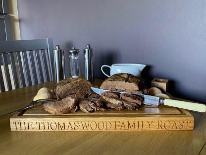 solid oak carving board. meat board. roast board. family roast. wooden carving board. personalised oak carving board. slateandoak personalised oak gifts handcrafted in solid oak