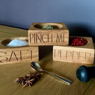 pinch pots 3 solid oak square bowls for salt, pepper or herbs each one engraved with text along the front edge