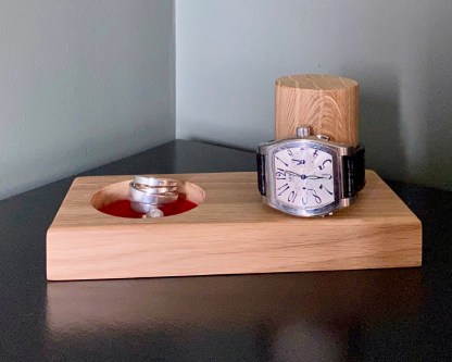 solid oak watch and cufflink tray complete with watch over the vertical post