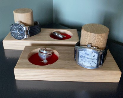 slate and oak. solid oak watch and cufflink tray with a watch over the vertical post