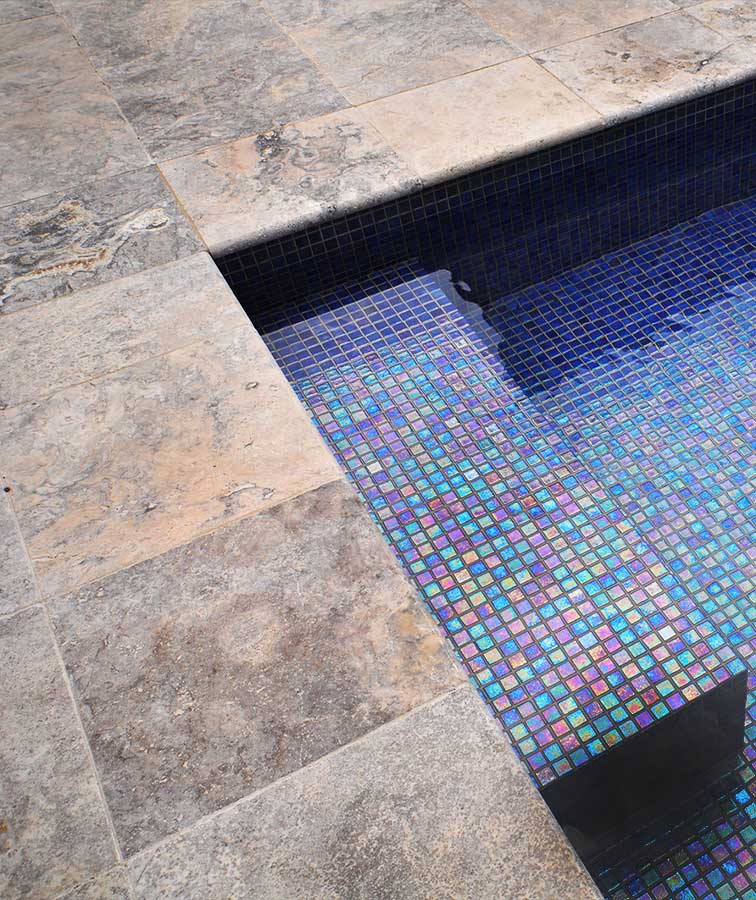 pool coping silver oyster travertine