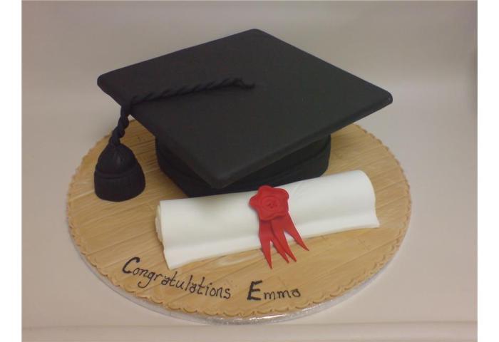 Mortar Board Scroll Graduation Cake Celebration Male Female