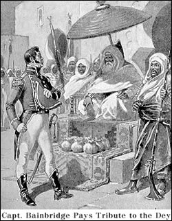 Captain William Bainbridge paying tribute to the Dey of Algiers, 1800.