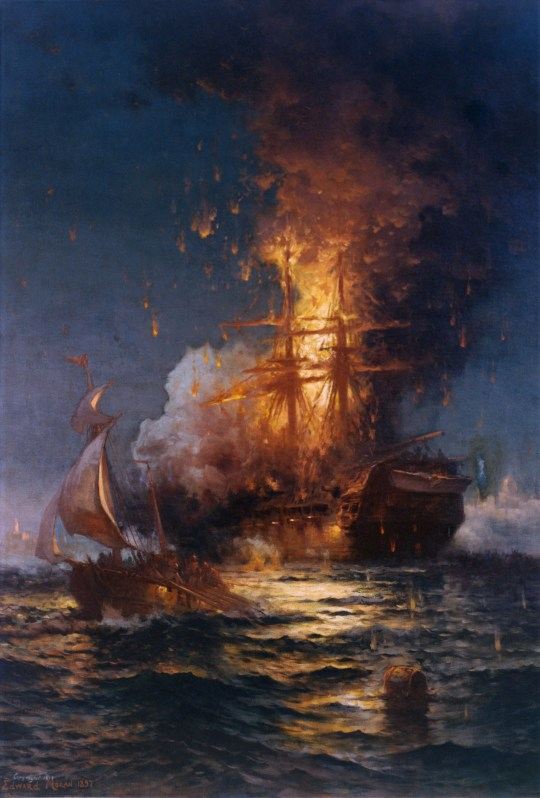 The USS Philadelphia burning at the Battle of Tripoli Harbor during the First Barbary War in 1804