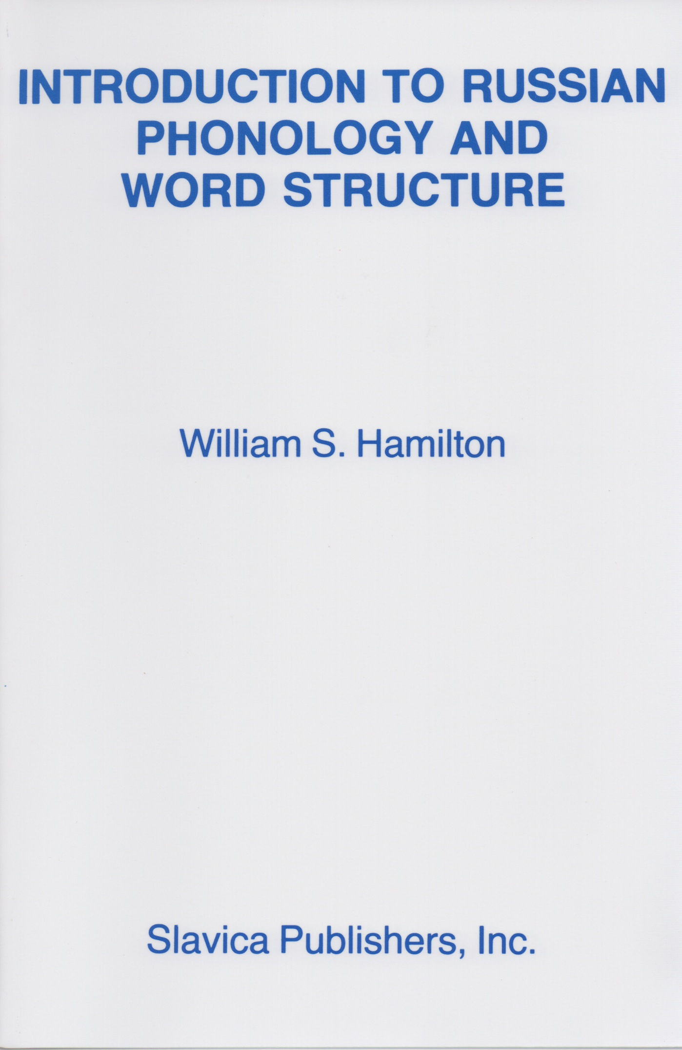 Introduction To Russian Phonology And Word Structure