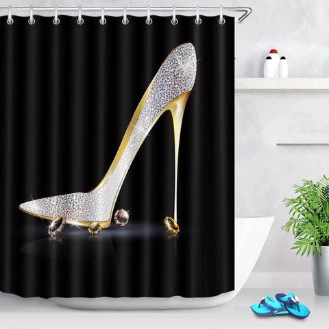 bling stiletto shower curtain or