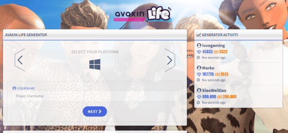 Avakinlife with select the platform and Generate avacoins and diamonds