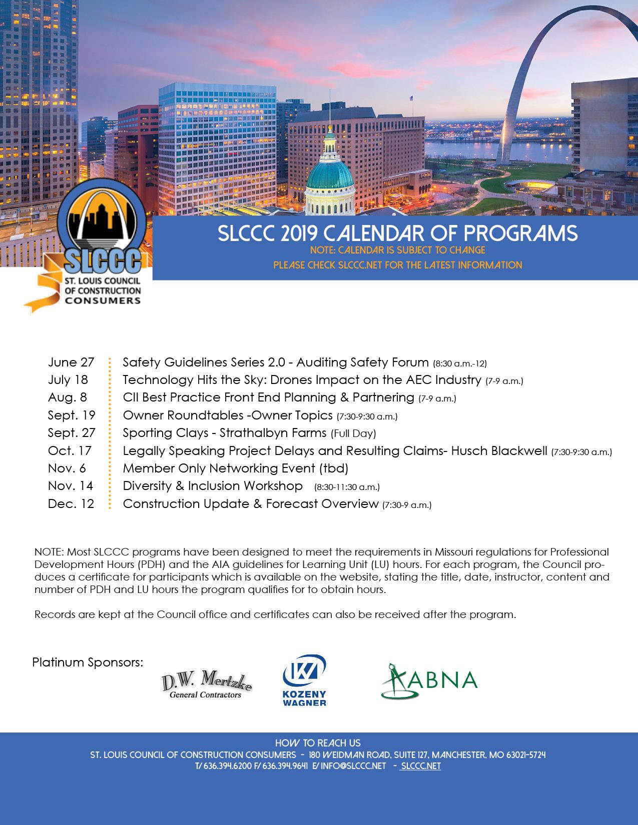 SLCCC Program Calendar