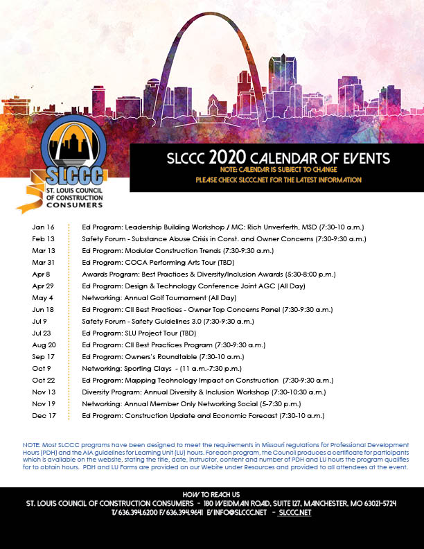 2020 SLCCC PROGRAM CALENDAR