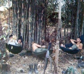 Soldiers Taking a Midday Siesta in Hammocks