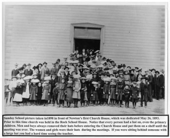 Sunday School Picture taken in 1898 in front of Newton's First Church House.