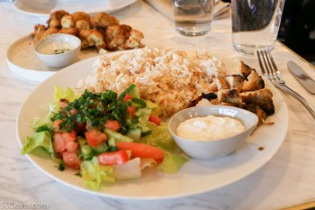 Shish Tawook plate. Grilled marinated chicken, rice, salad, and toum