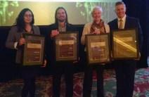 Award honorees Maura Olivos (Alta Environmental Center), Mike Johnson (3form), Vicki Bennett (Salt Lake City) and Jonathan Johnson (Overstock.com).
