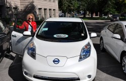 Mayor Biskupski trying out new 2016 EV models.