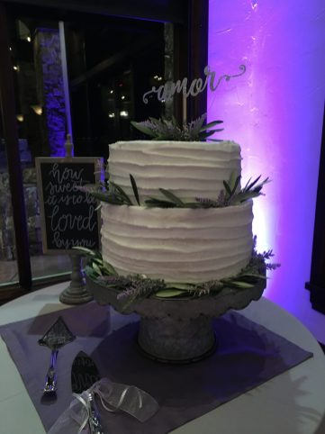 wedding cake on table without spotlight
