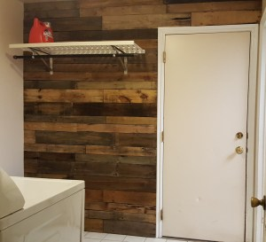 rustic laundry room pallet wall