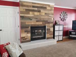 rustic fireplace pallet wall
