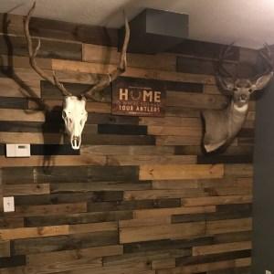 rustic basement pallet wall