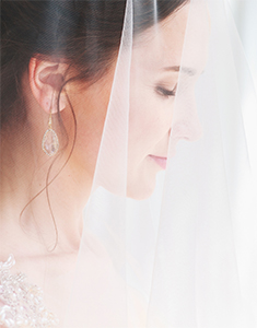 dreamy professional closeup bridal portrait with bride's face covered with a veil