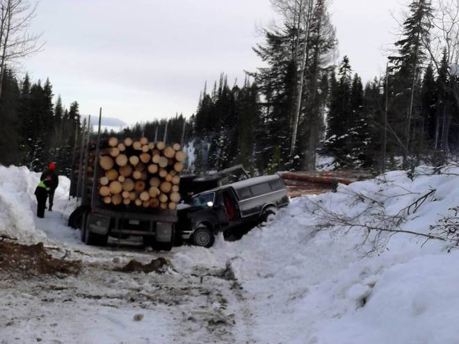 """This is a truck vs logging rig accident that required an emergency helicopter evacuation in 2016. DON""""T LET THIS HAPPEN TO YOU"""