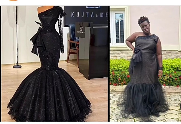 """""""Who I offend?"""" Warri Pikin asks as she shows the outfit she ordered and what her designer made"""