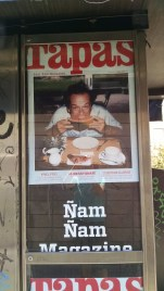 """This is a picture of Jack Nicholson eating watermelon. The magazine translates as """"Nom Nom Magazine"""""""