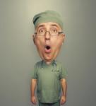 bighead amazed doctor in uniform