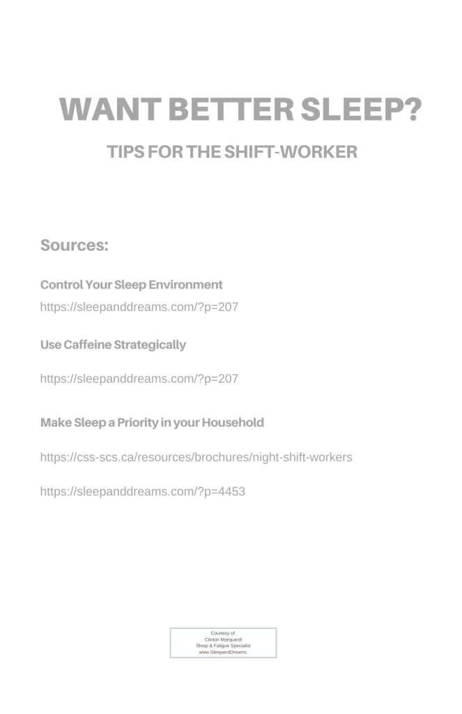 Want Better Sleep? Tips for the Shift-Worker Info-Graphic