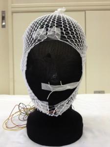 電極を装着した頭部写真