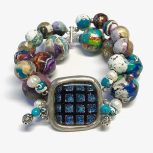 Sleepin' Dog | Dichroic Stone Bracelet With Fine Silver Polymer Beads